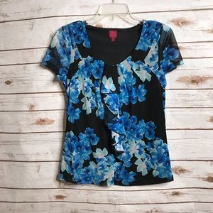 212 Collection Black Floral Ruffle Sheer Top